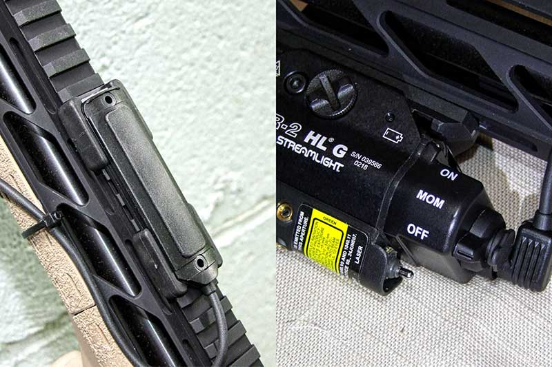 Streamlight TLR-2 HLG with pressure pad (left) and 69130 back plate to allow constant on or momentary light.