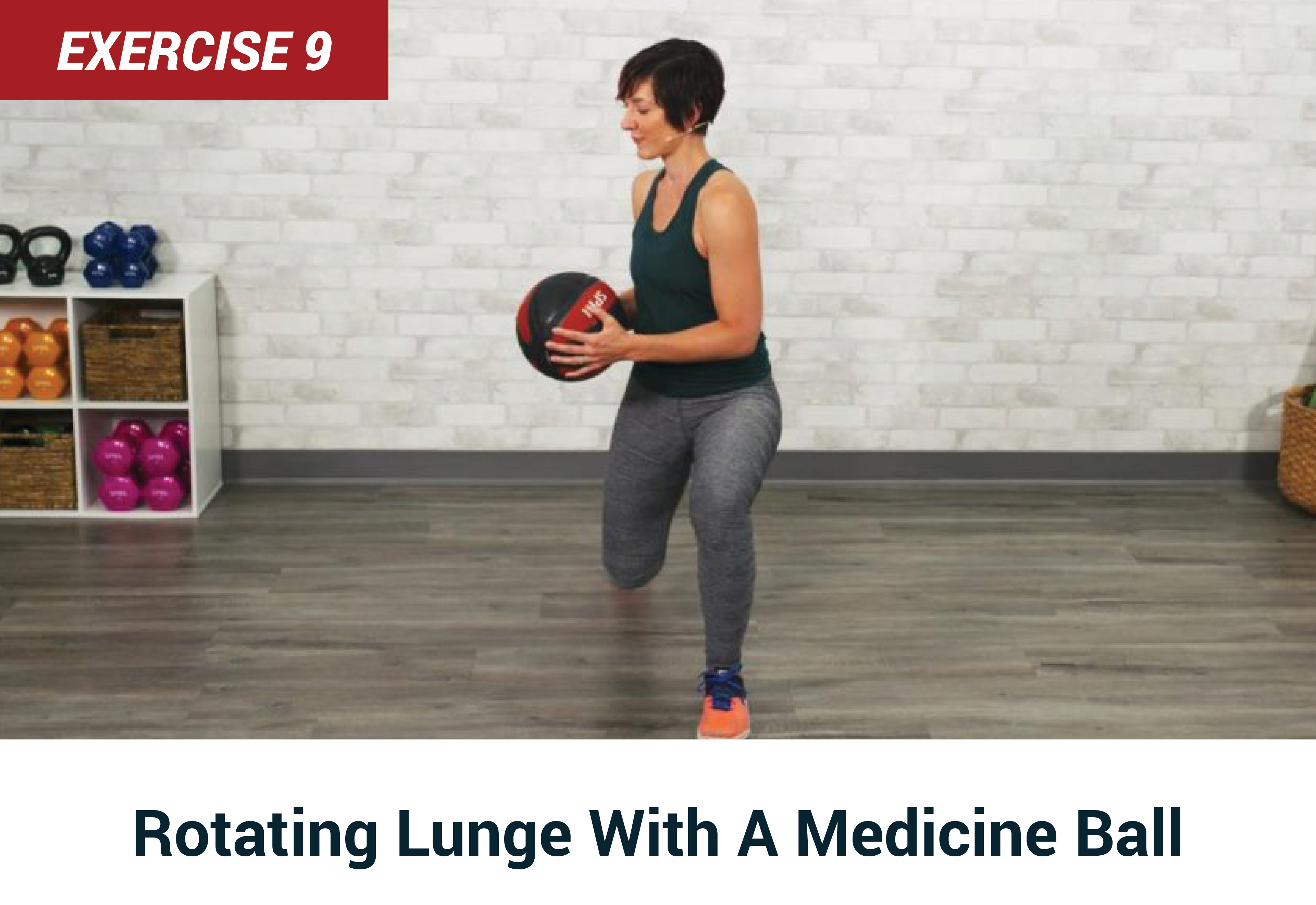 Rotating lunge with a medicine ball