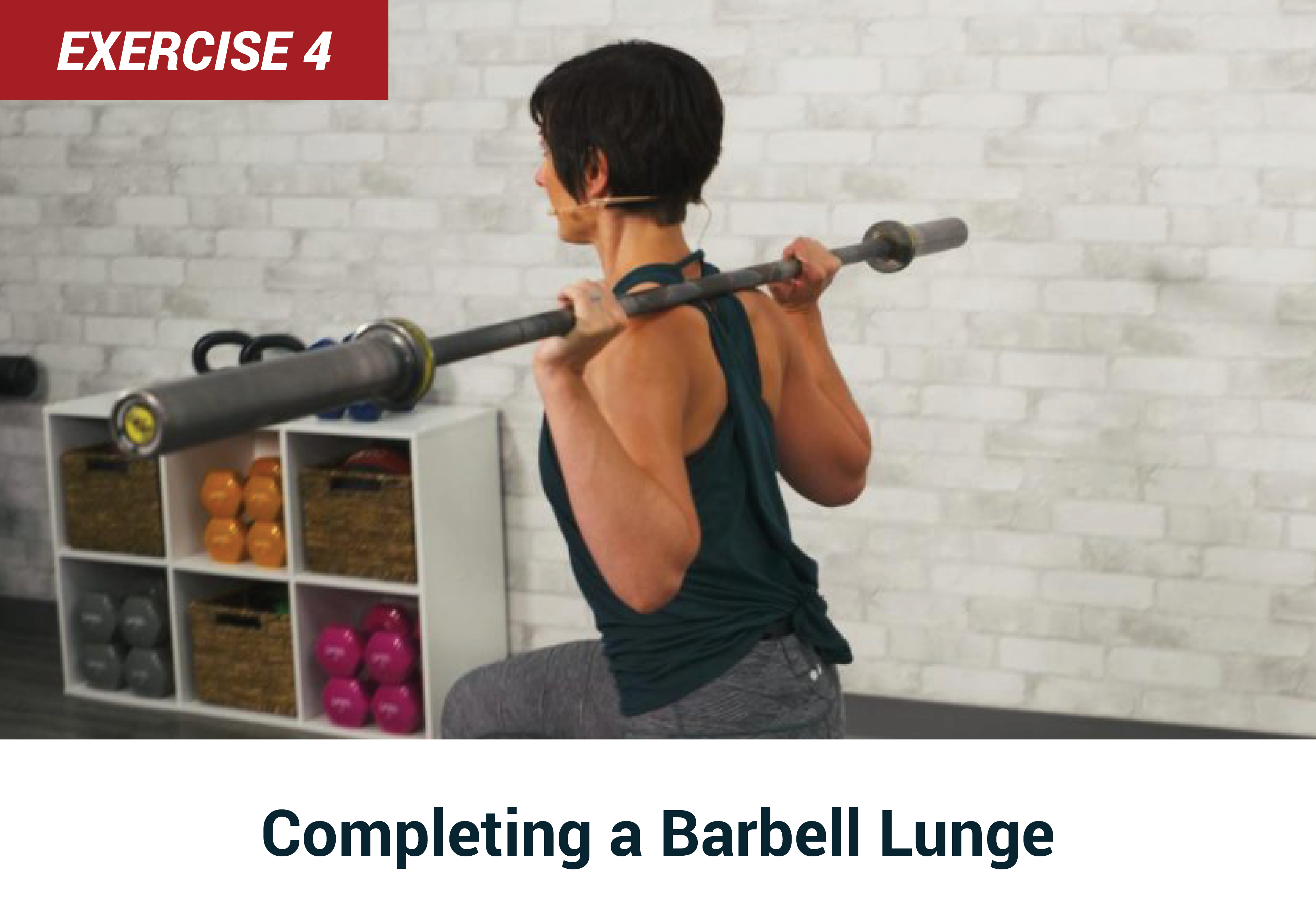 Completing a barbell lunge