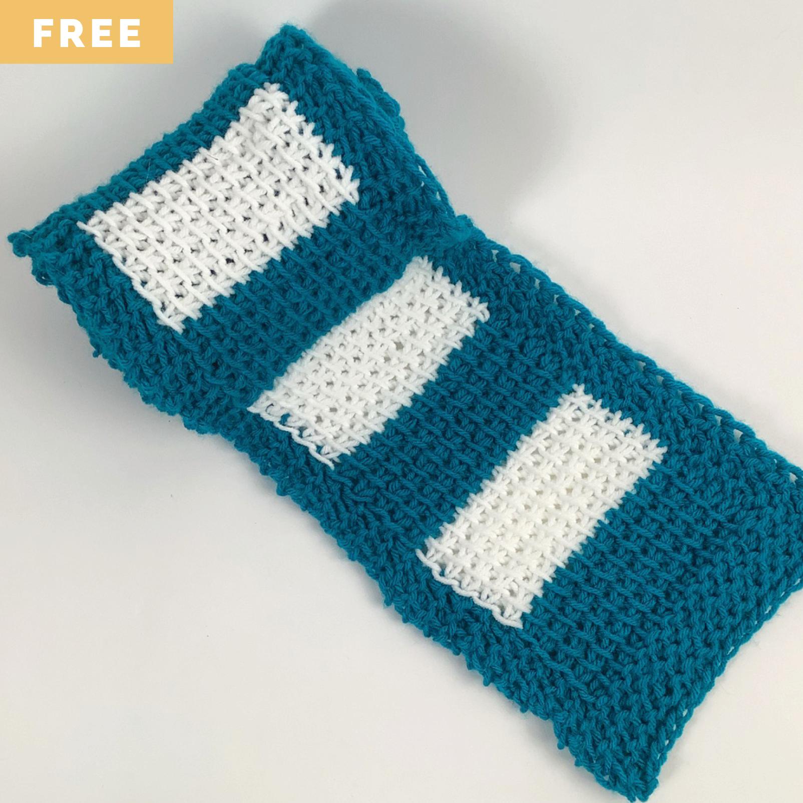 Free Crochet Pattern - Striped Tunisian Scarf