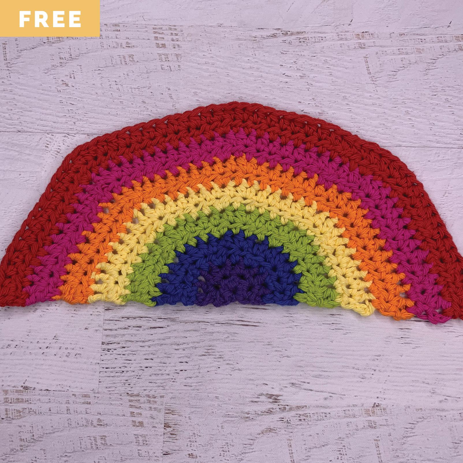 Free Crochet Pattern - Half-Double Crochet Rainbow Washcloth