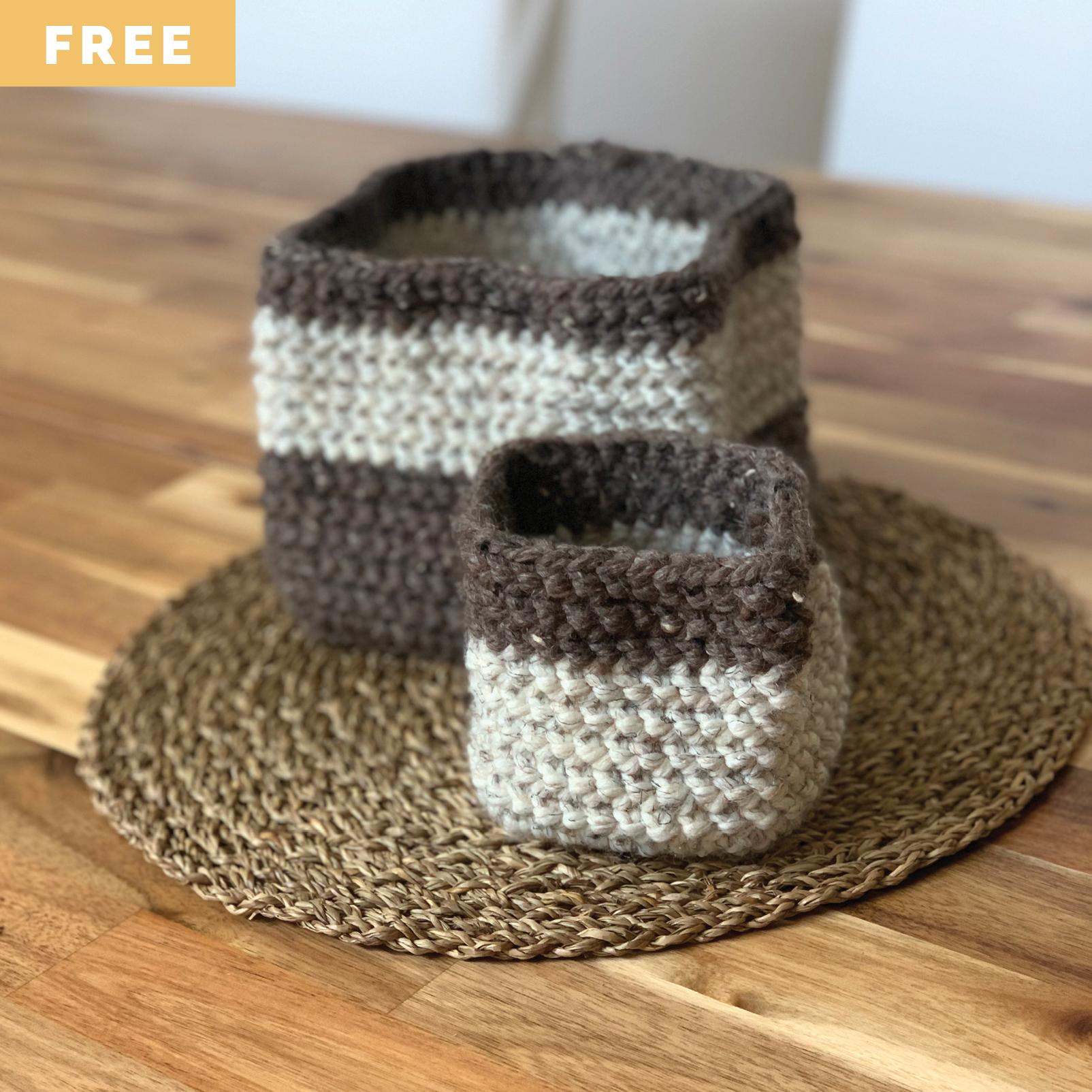 Free Crochet Pattern - Stacking Baskets