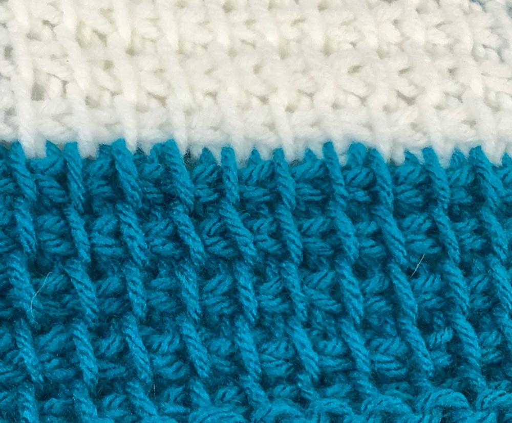 close up tunisian crochet stitch