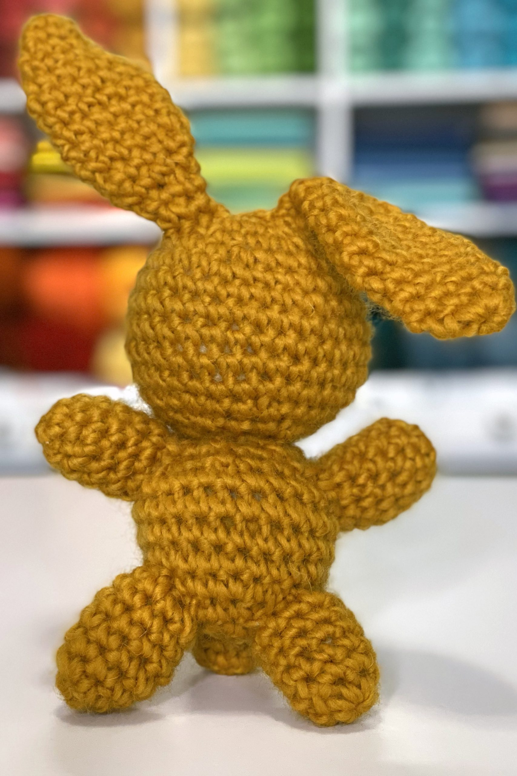 small brown crocheted bunny