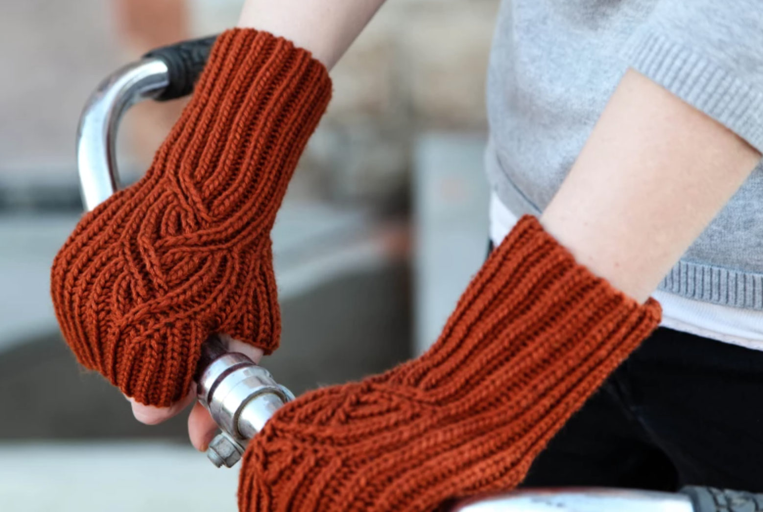 brioche fingerless mitts