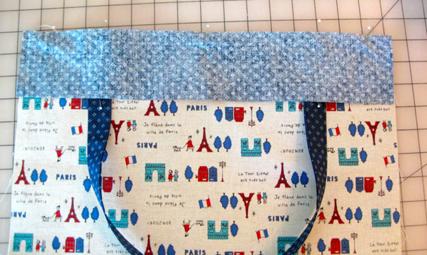 sewing top of tote