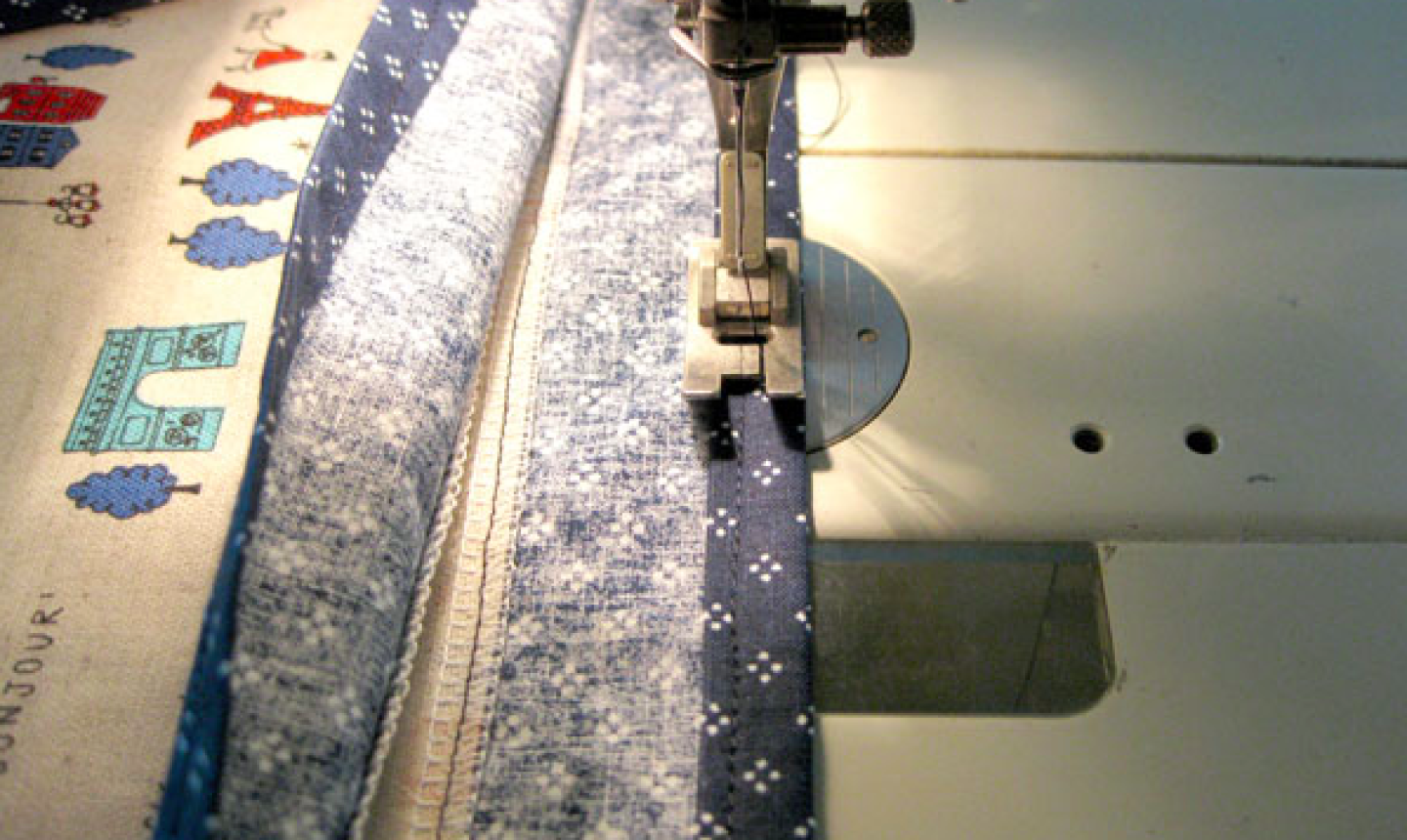 stitching top of tote bag