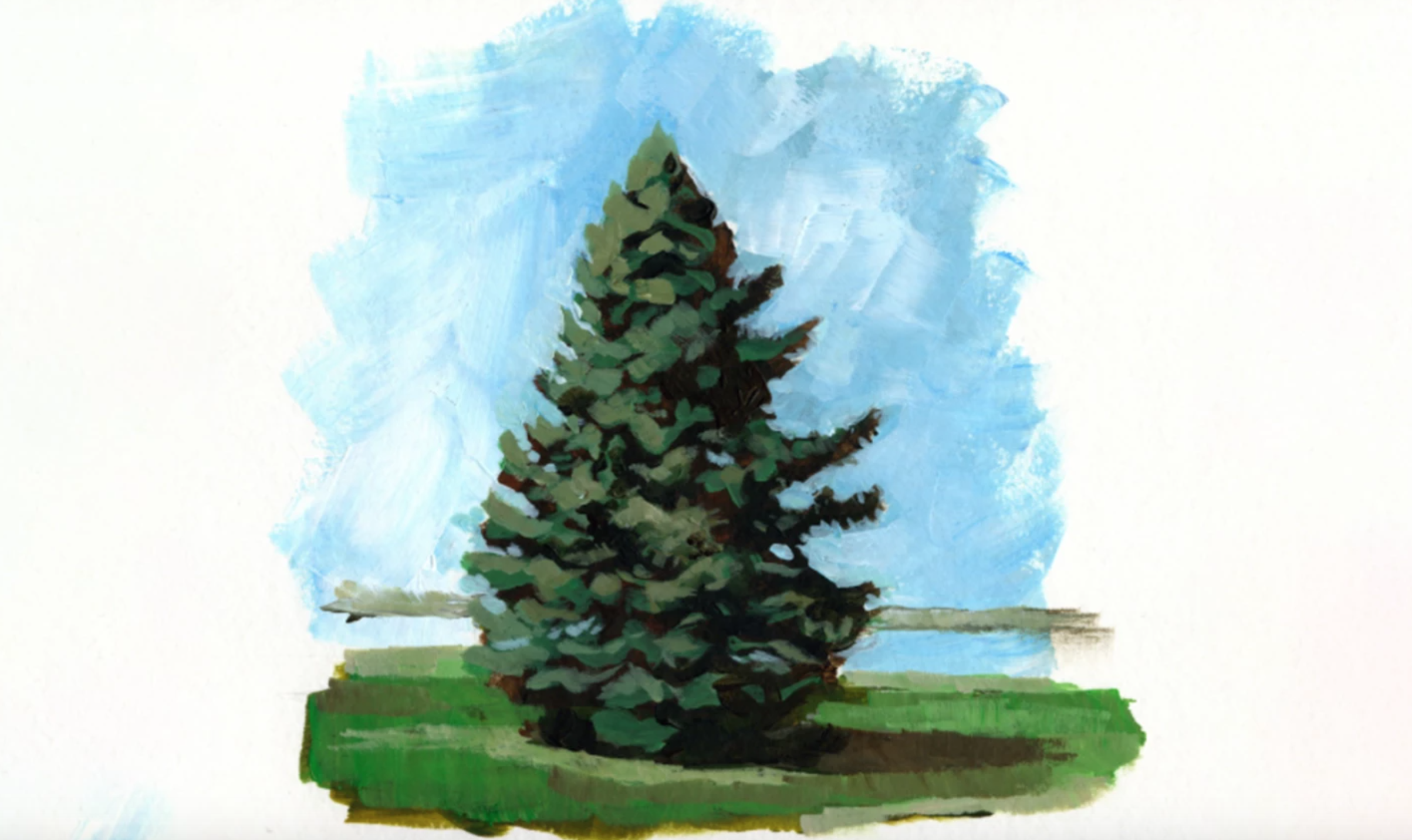 acrylic pine tree