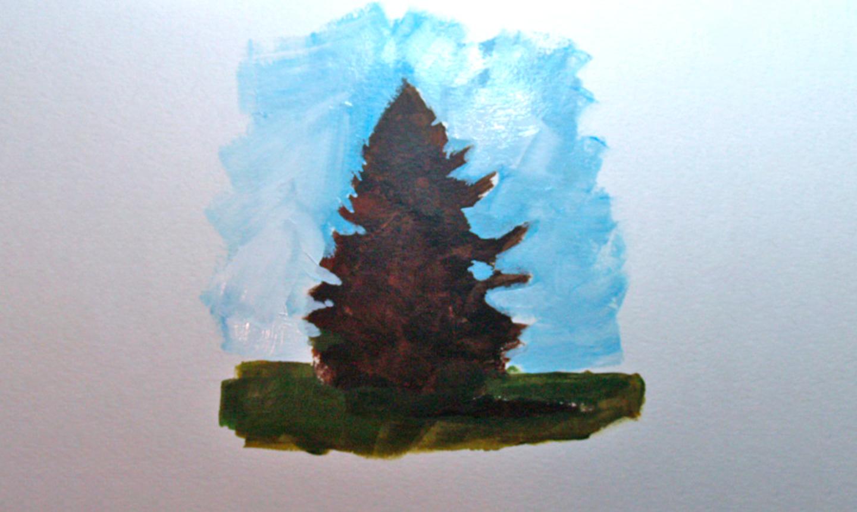 painting pine tree sky