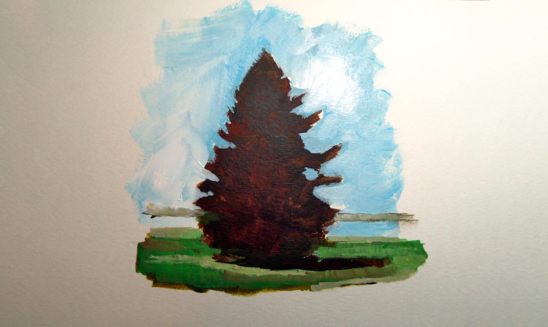 painting pine tree ground