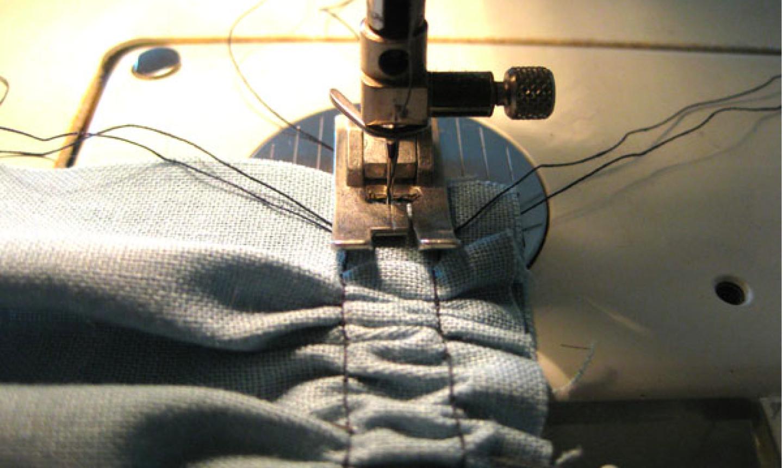 sew between basting stitch