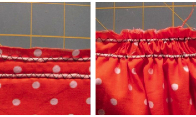 gathered fabric zigzag stitch