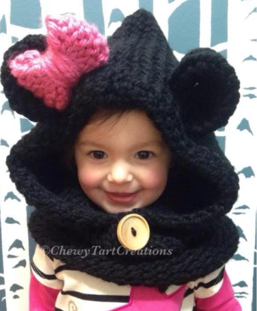 toddler wearing knit bear hood