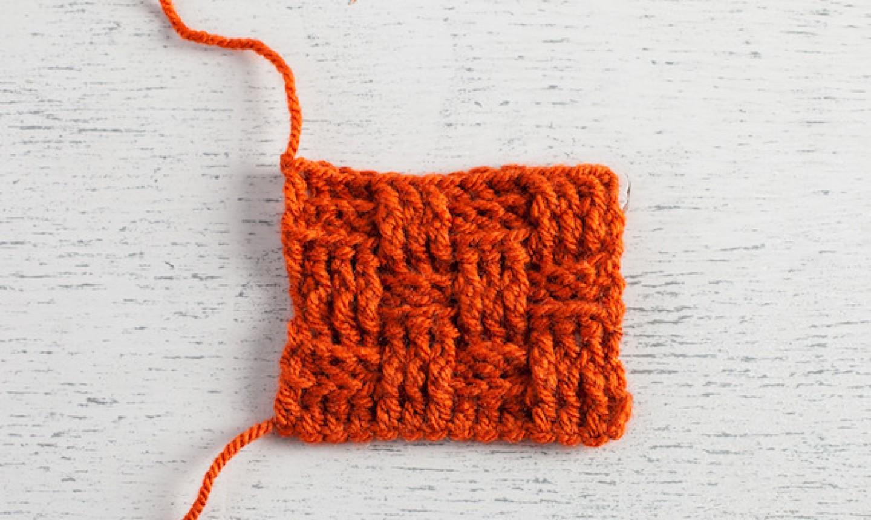 basketweave crochet swatch