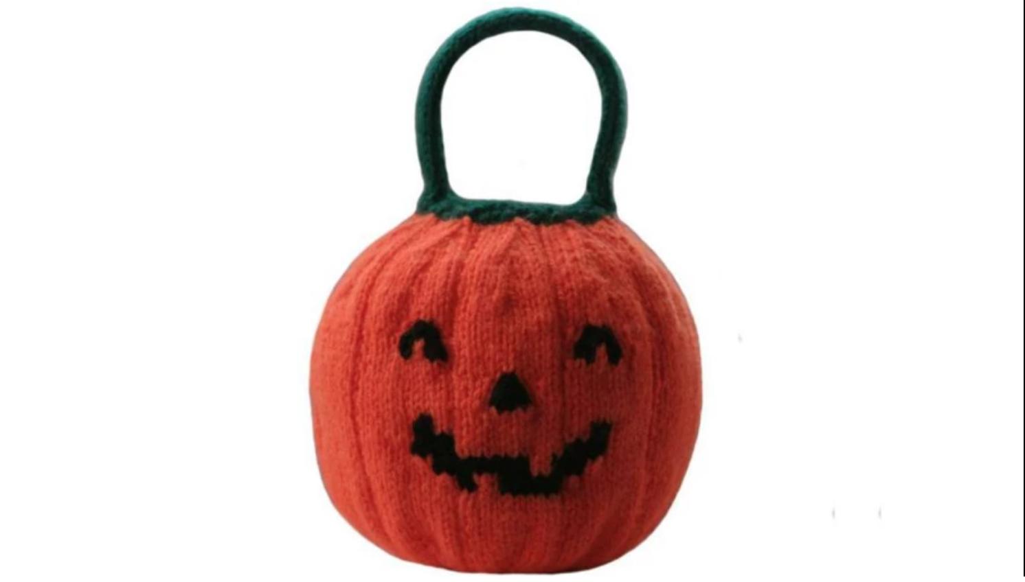 knit pumpkin bag