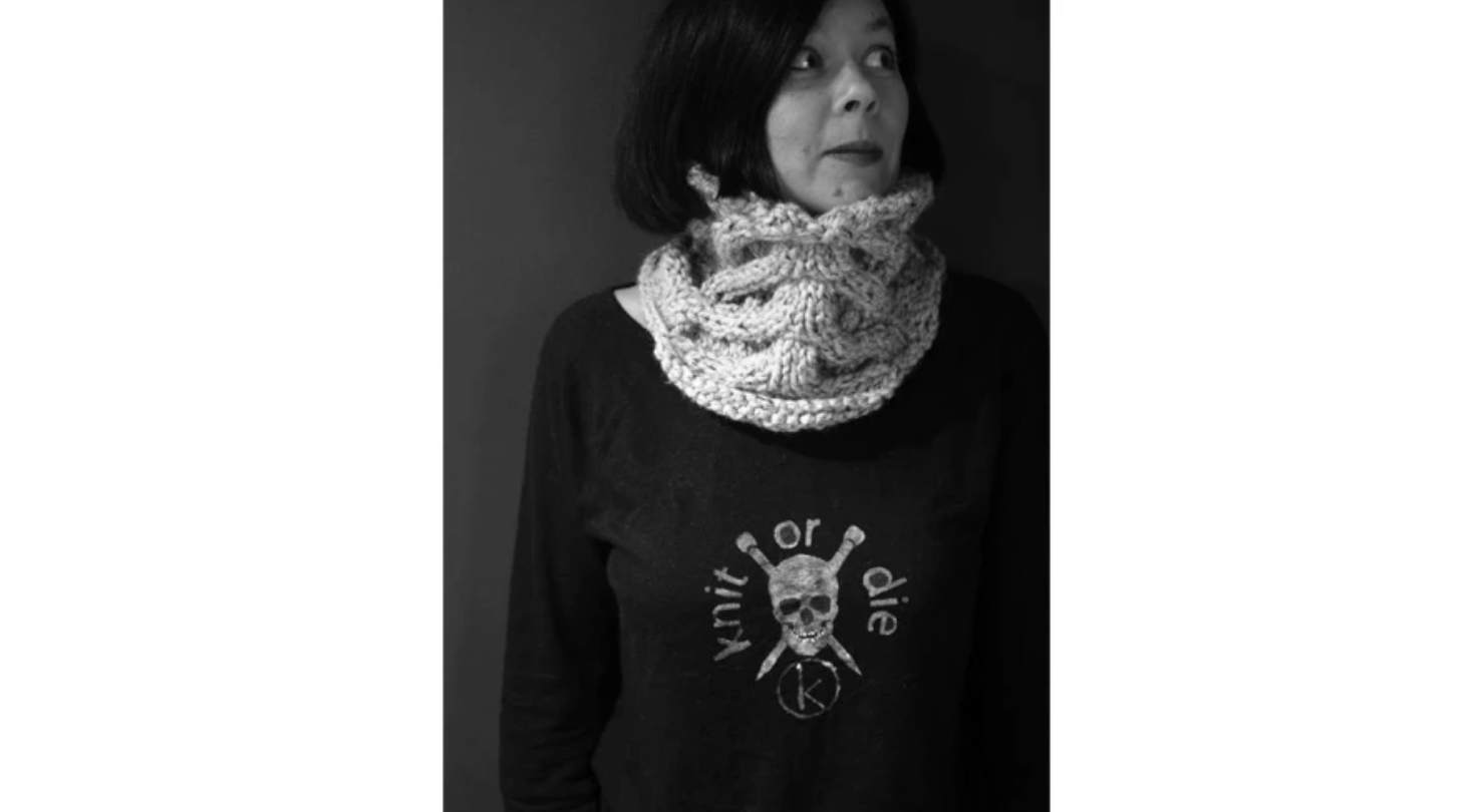 woman wearing skeleton cowl