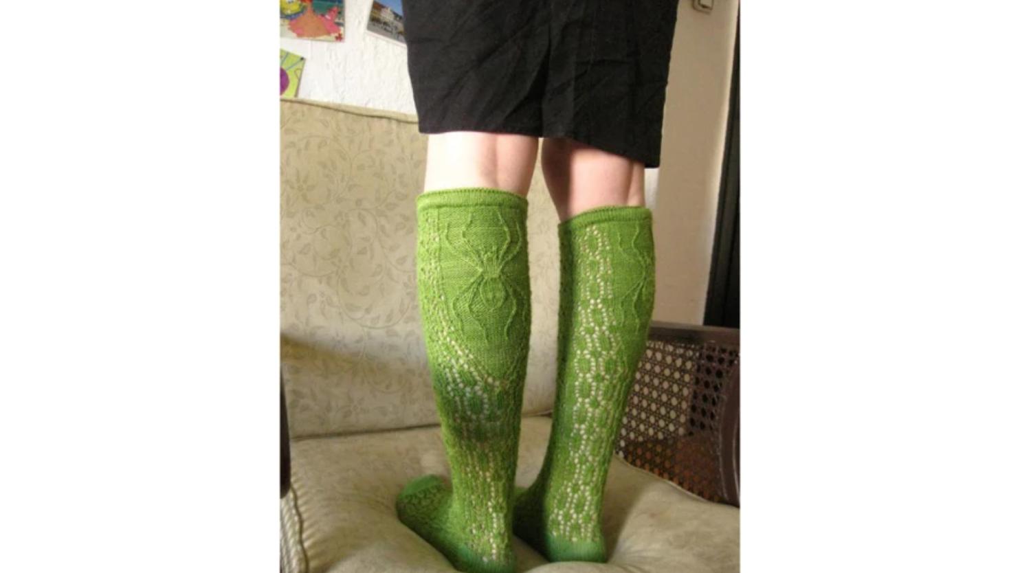 knit green spider socks