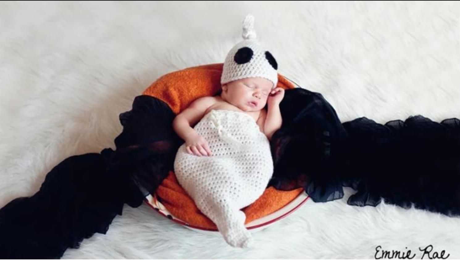 baby in crochet ghost costume
