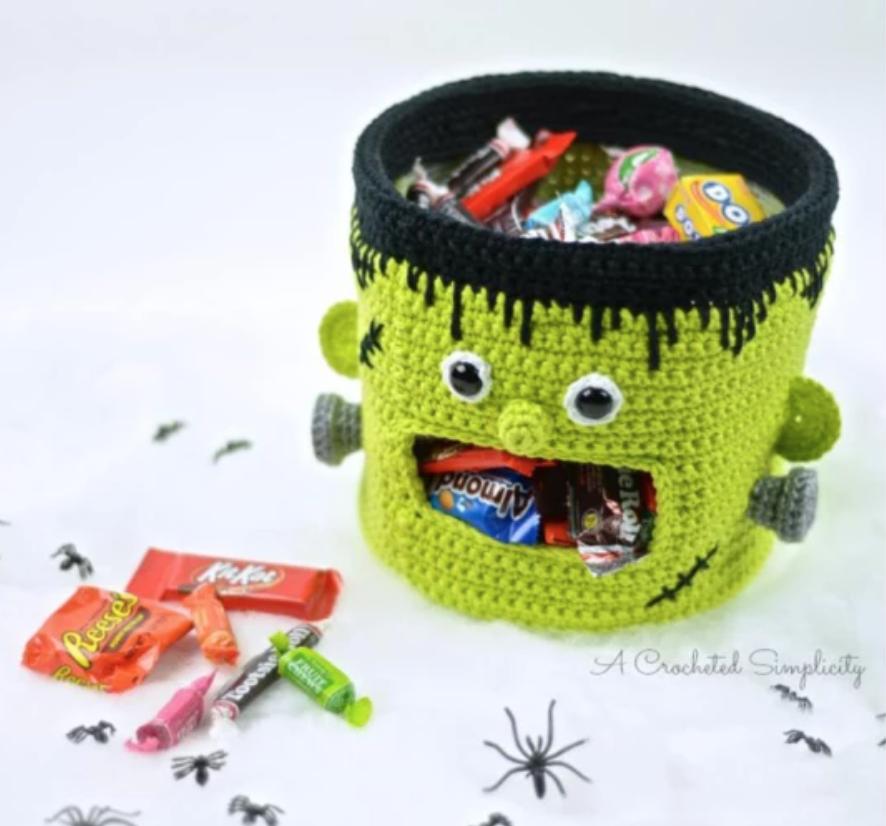 crochet frankenstein candy bowl