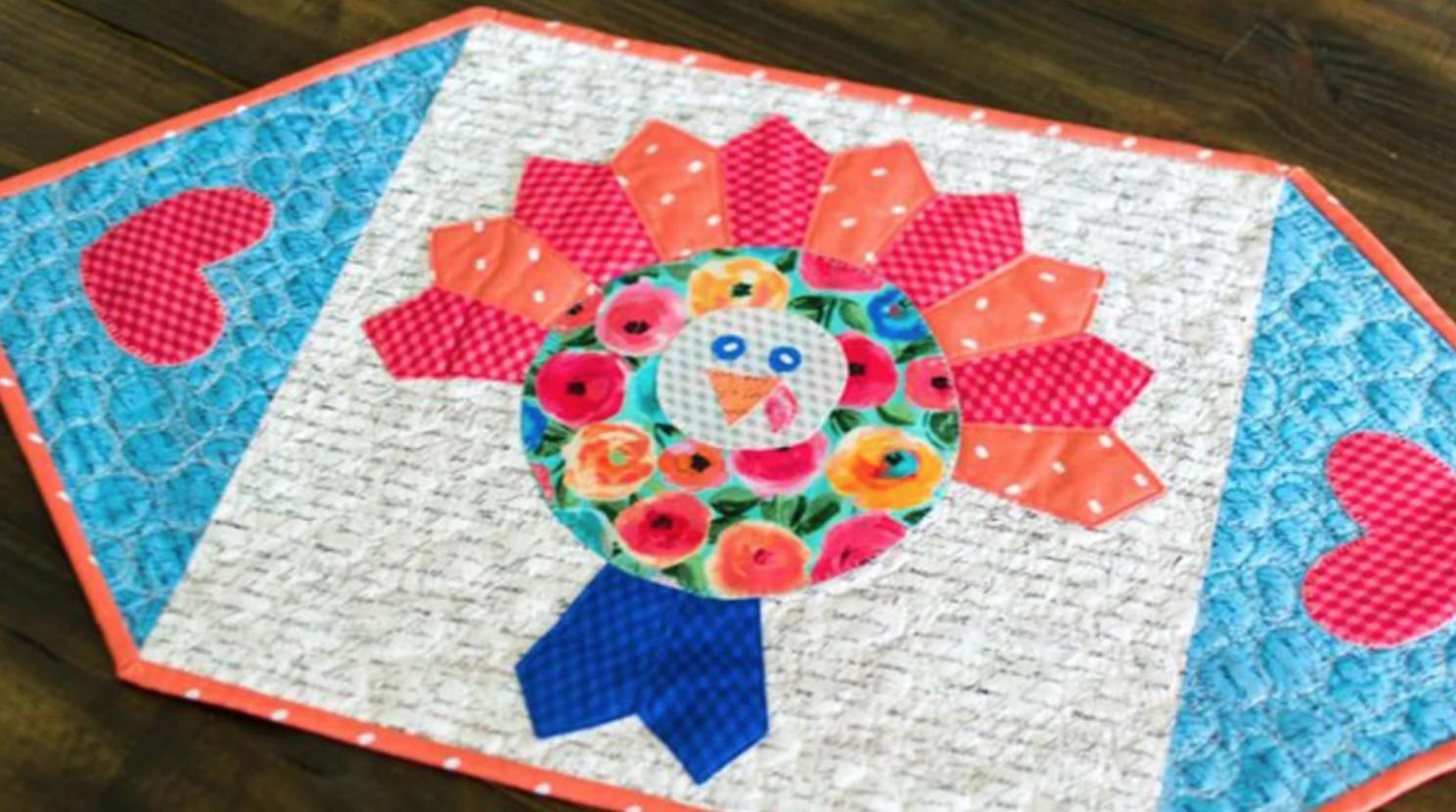 colorful turkey mug rug