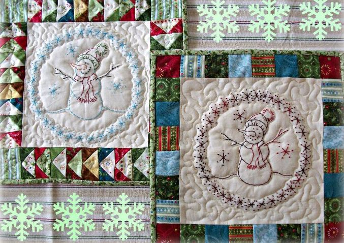 embroidered snowman quilt