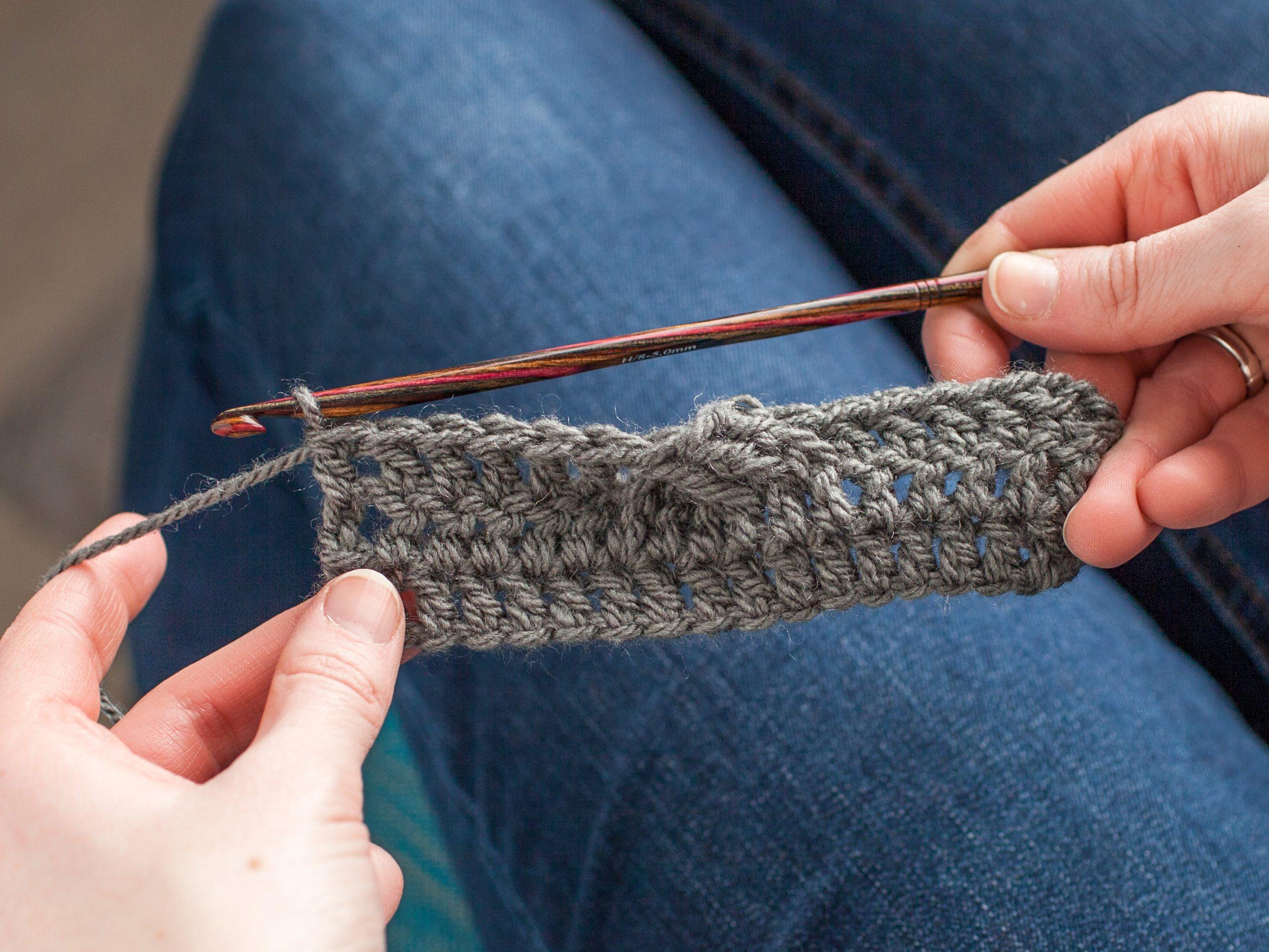 Person crocheting