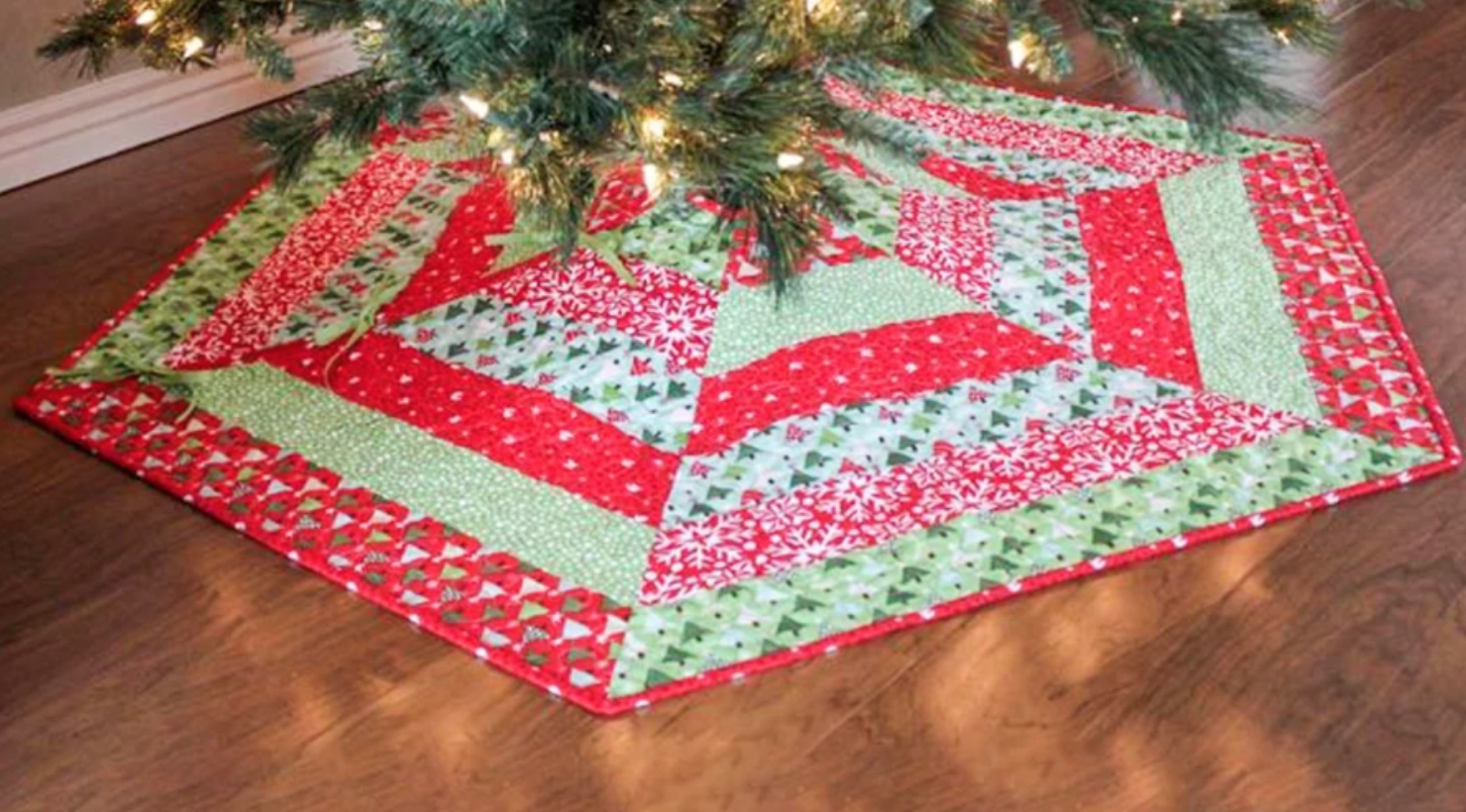 green and red striped quilted tree skirt