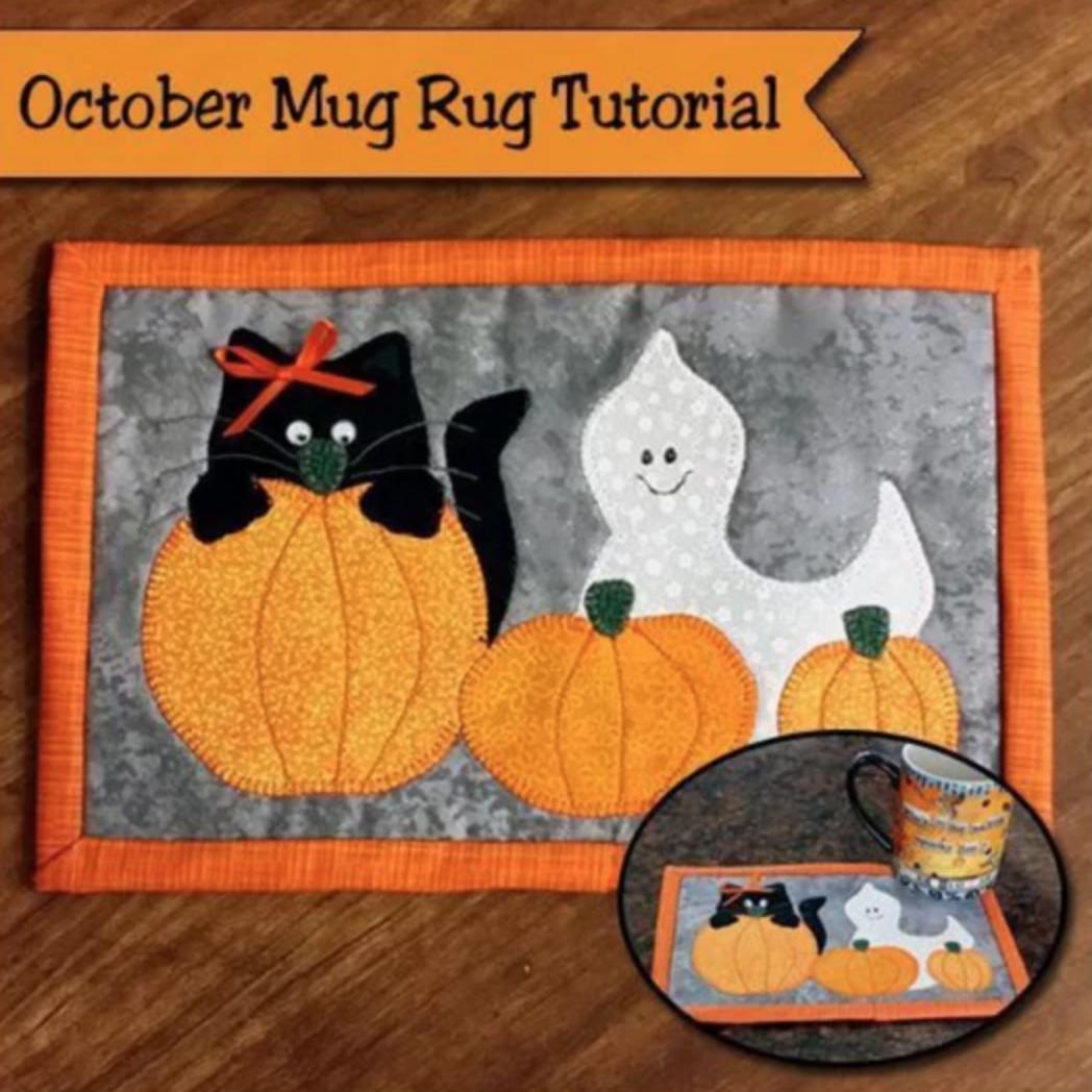 cat and ghost pumpkin mug rug