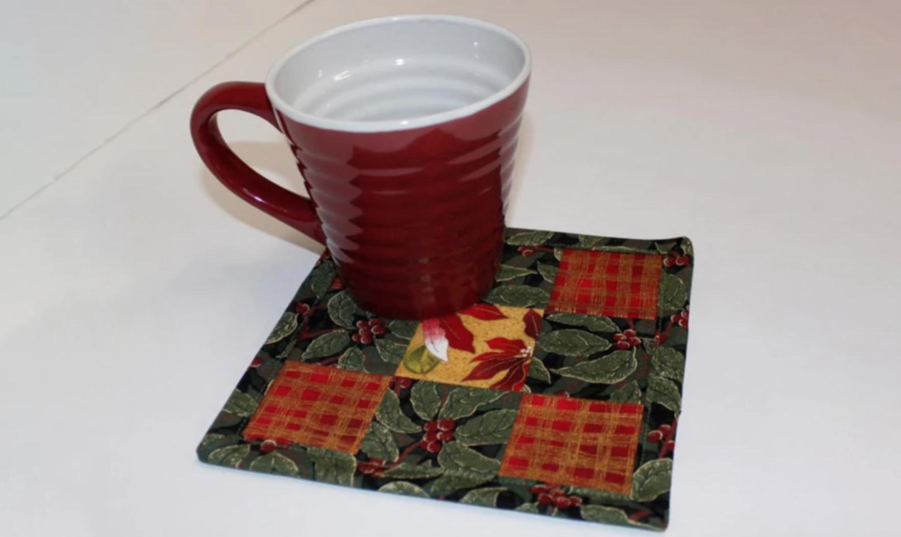 nine patch mug rug