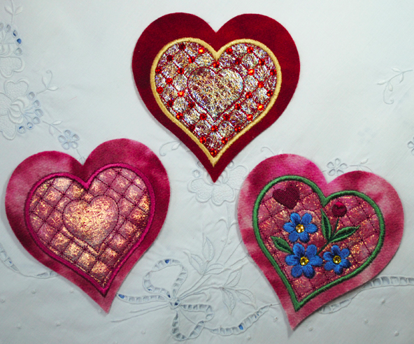 embroidered shimmer hearts