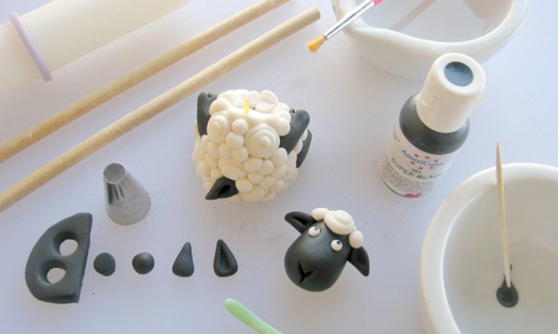assembling fondant ewe