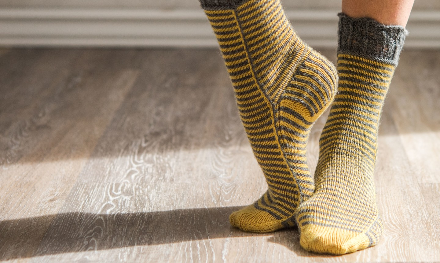 gold and gray striped socks