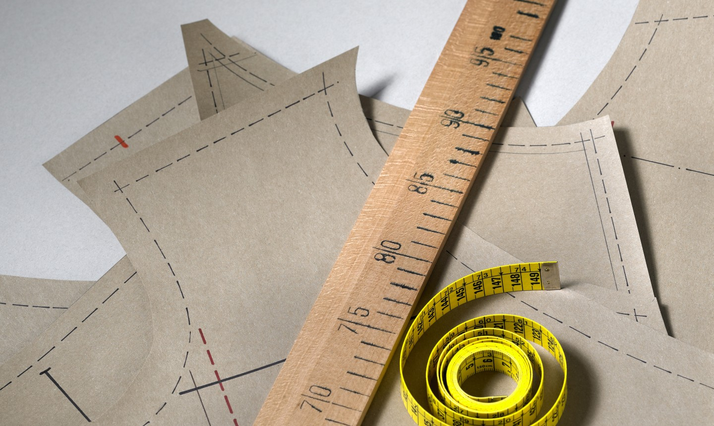 pattern pieces and measuring tape