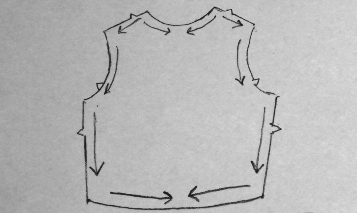 diagram on staystitching top piece
