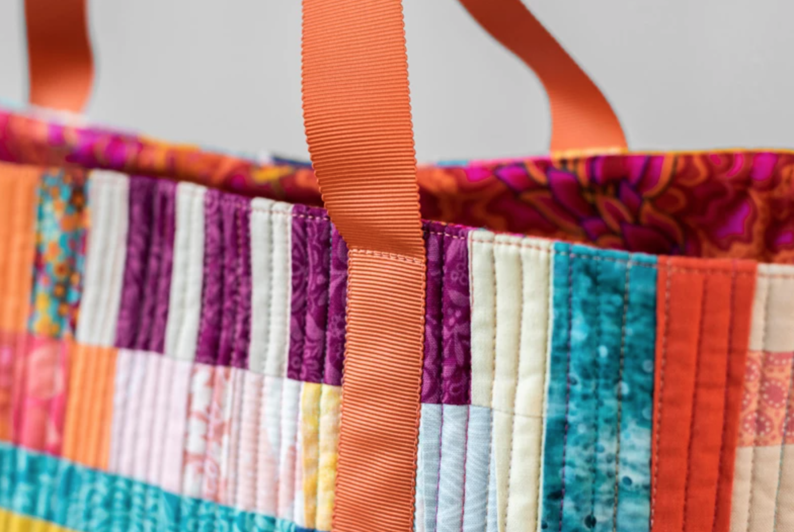 detail shot of scrappy tote
