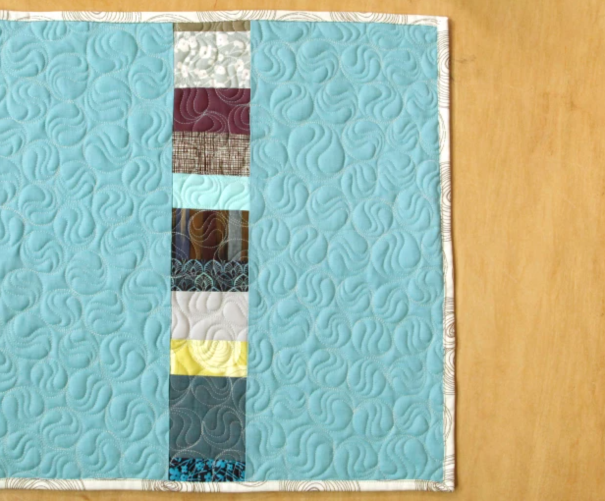 mini quilt with all-over design
