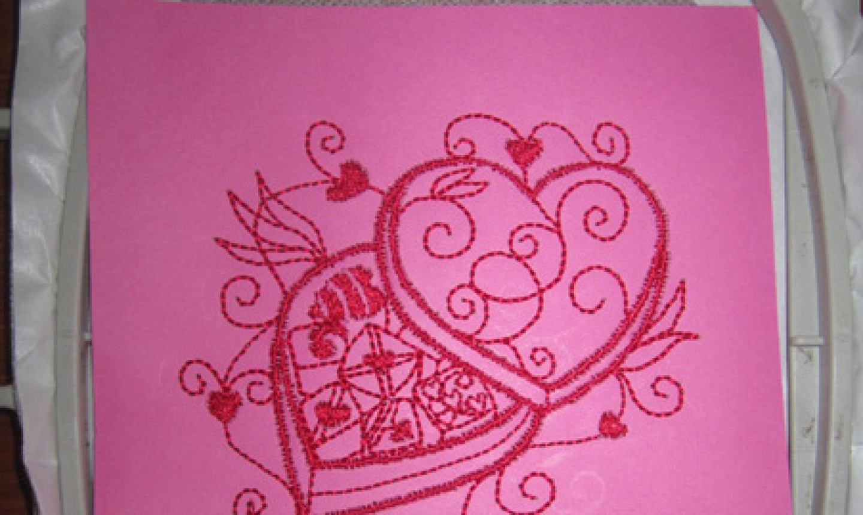 machine embroider valentine