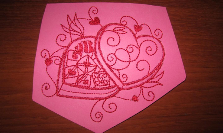 machine embroidered valentine design
