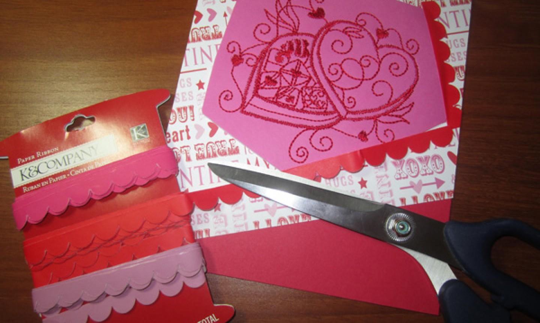 embellishing valentine card