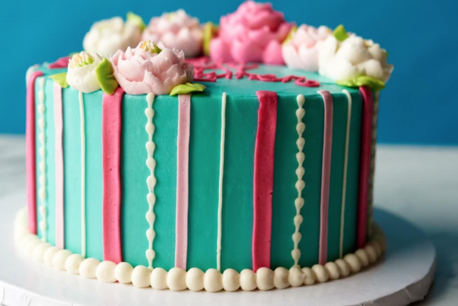 colorful striped cake