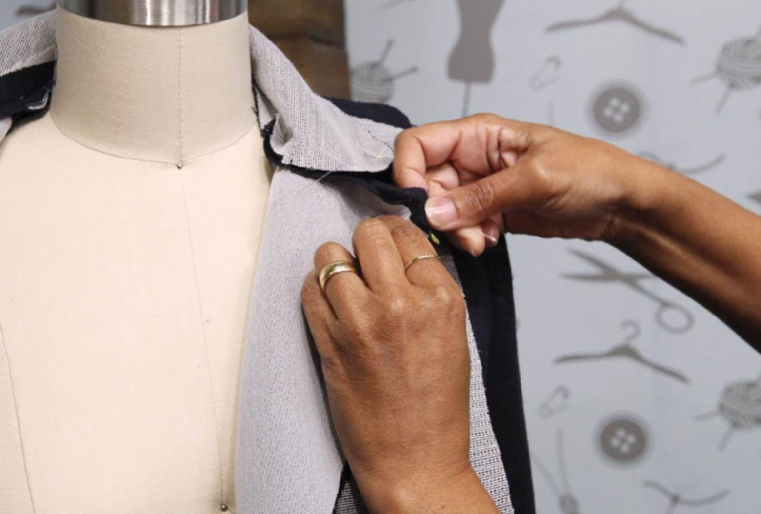 putting facing on garment on mannequin