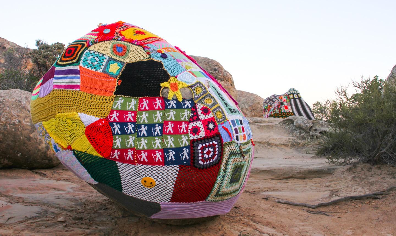yarn bombed boulder