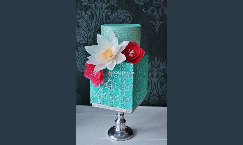 wafer paper flower teal cake