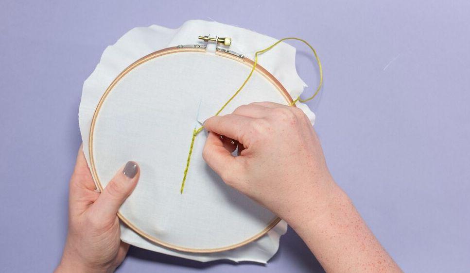 Women holding yellow split stitch embroidery