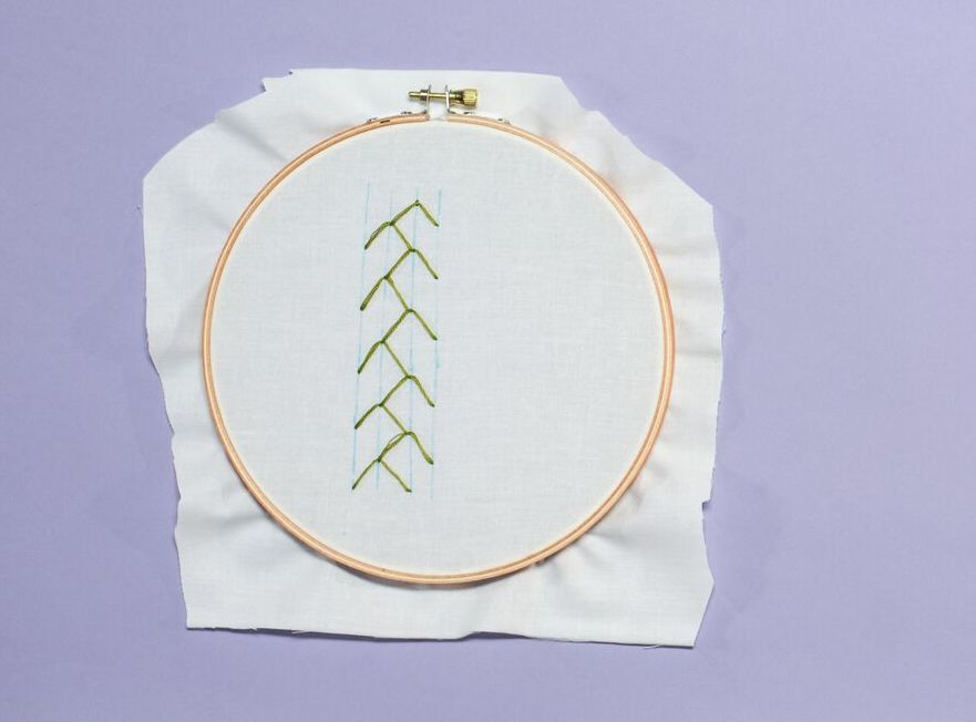 Green feather stitch