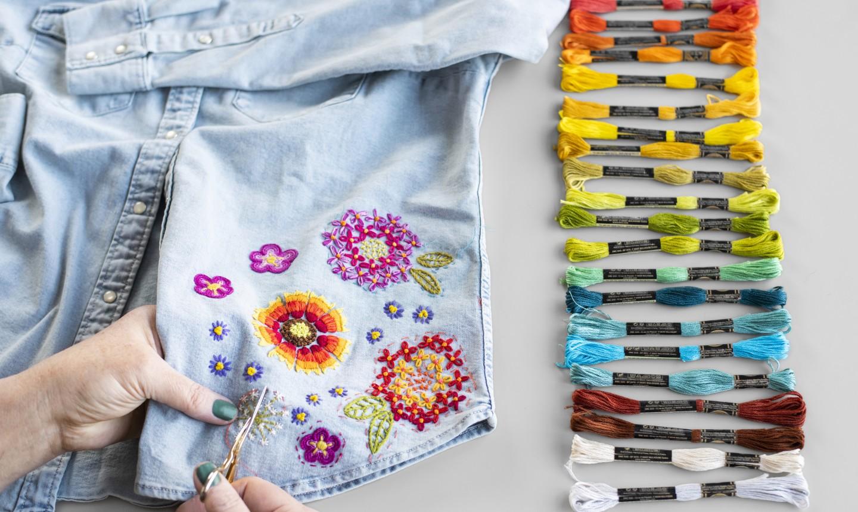 embroidering denim