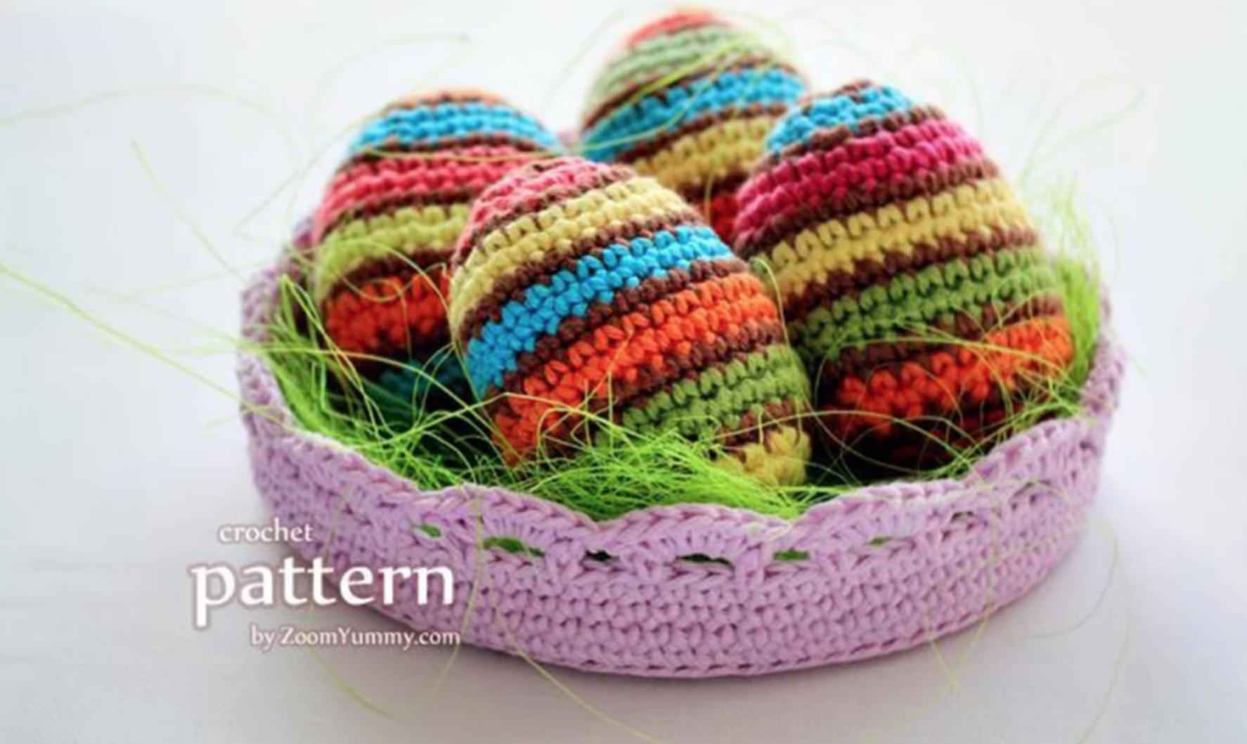 crochet striped eggs