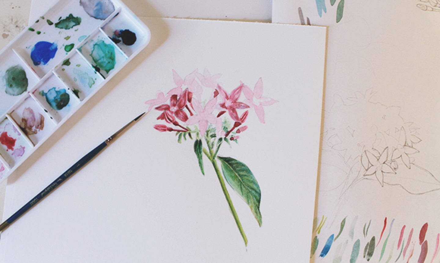 painting mixed media flowers