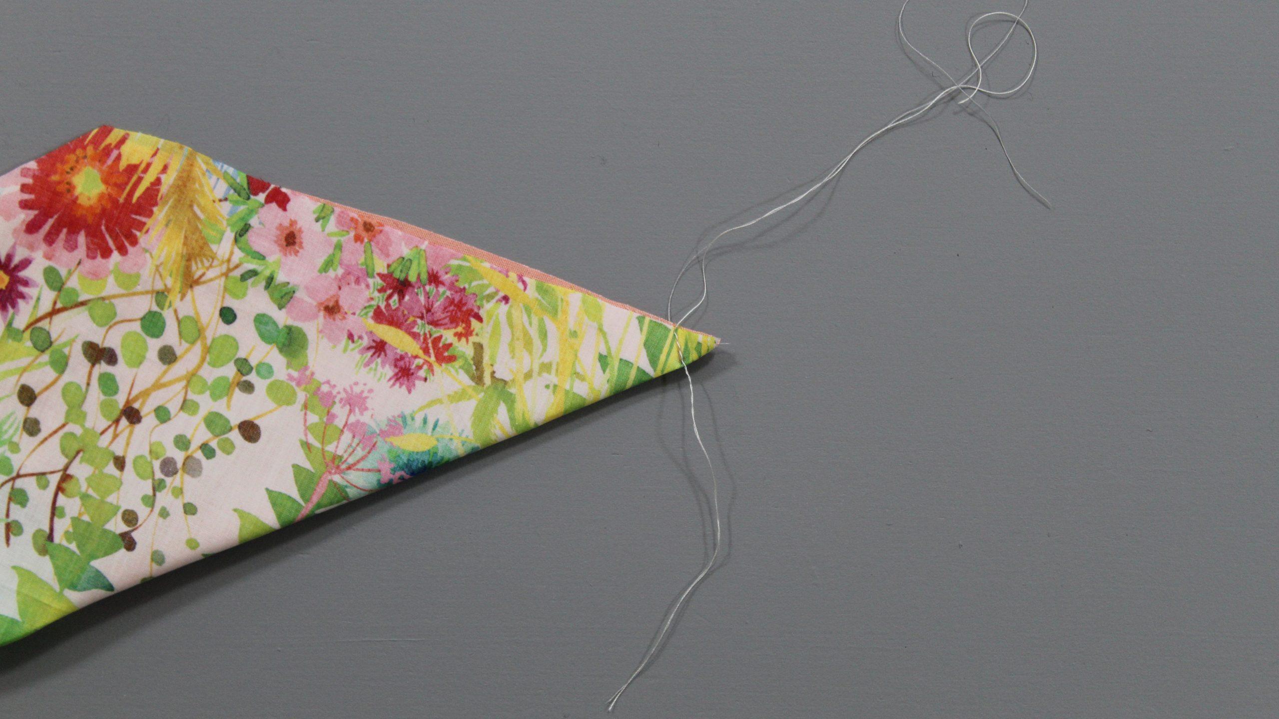 Stitch on tip of fabric