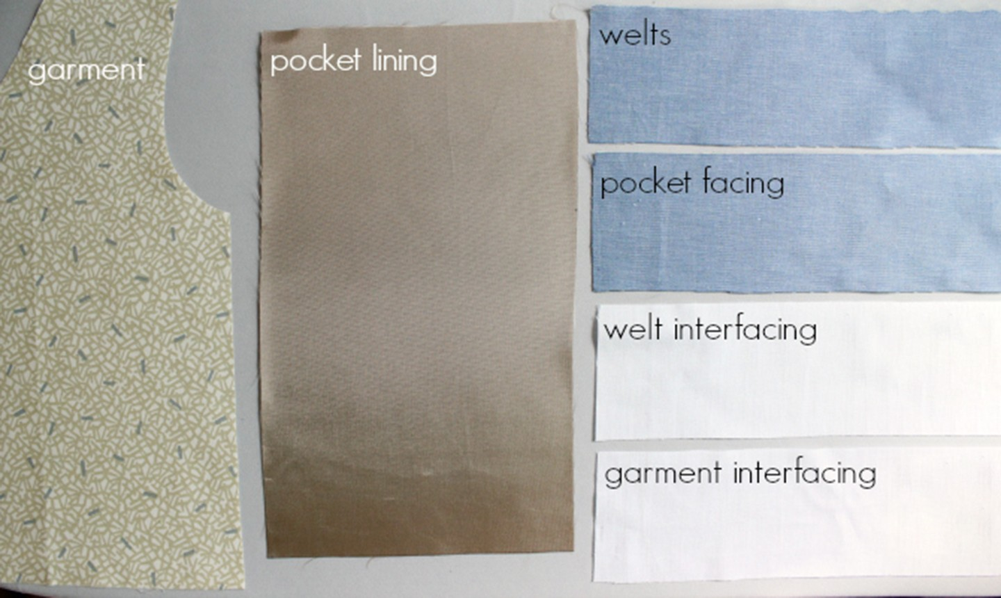 fabric cuts for welt pockets